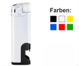 Elektrofeuerzeug mit schwarzem Flaschenöffner 1-seitig